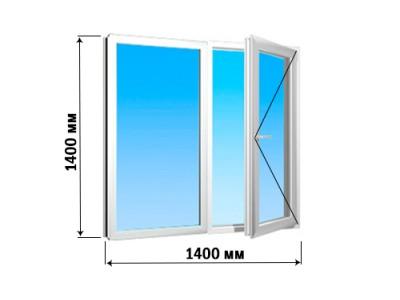 Окно 2 створки 1400х1400 (1 вариант открытия)