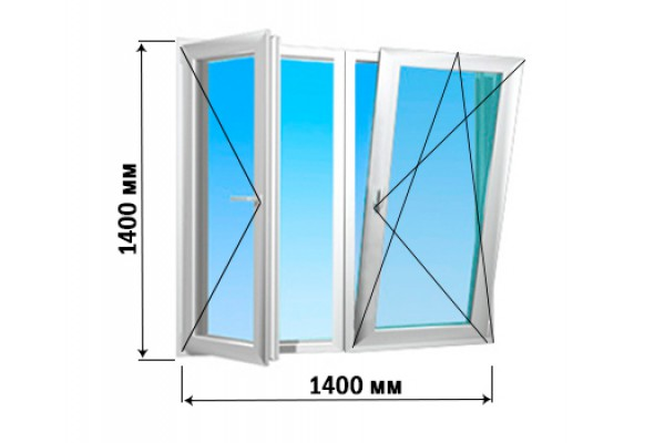Окно 2 створки 1400х1400 (3 варианта открытия)