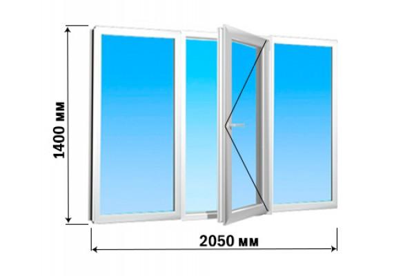 Окно 3 створки 2050х1400 (1 вариант открытия)