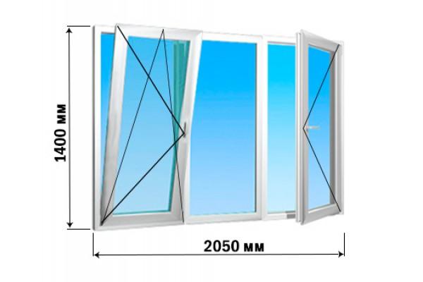 Окно 3 створки 2050х1400 (4 варианта открытия)
