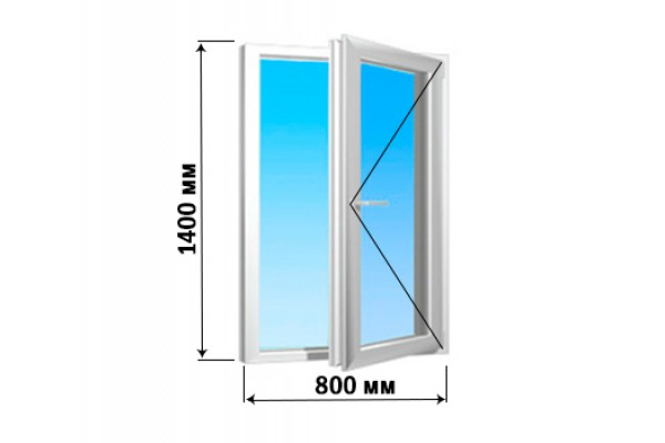 Окно 1 створка 800х1400 (под ключ)
