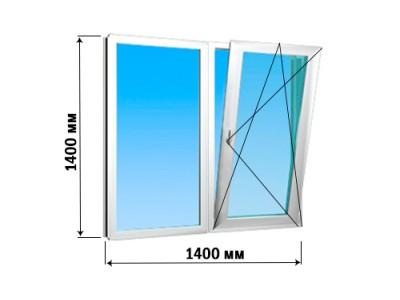 Окно 2 створки 1400х1400 (2 варианта открытия)