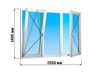 Окно 3 створки 2050х1400 (3 варианта открытия)